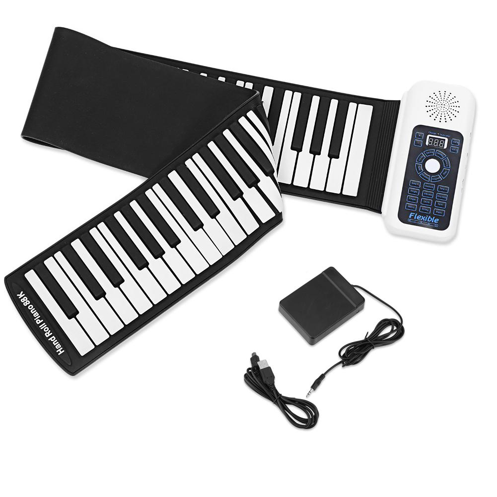 Portable 88 Keys Roll Up <font><b>Piano</b></font> Thicken Flexible Silicone <font><b>Digital</b></font> Electronic Keyboard Folding Roll Up <font><b>Piano</b></font> Musical Instrument image