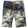 2017 Top Fashion Flower Printing Beach Shorts Men Plus Size Cototn Linen Board Shorts Men