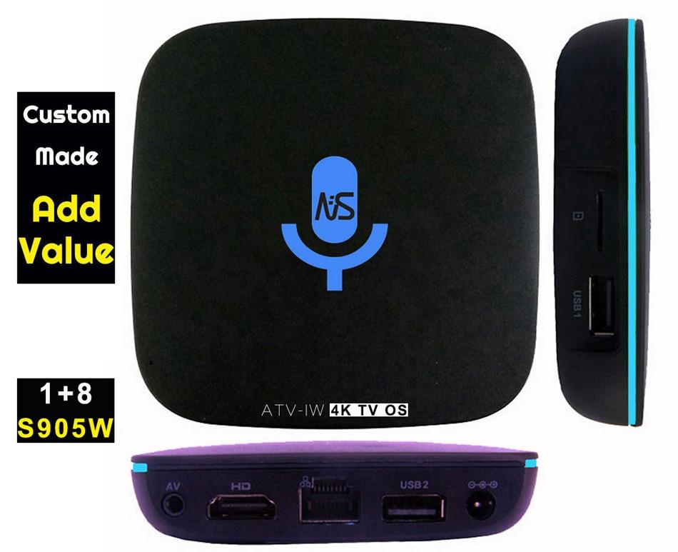 1pcs ATV-W Custom Made Amlogic S905W Quad core Smart Andoid7.1 TV OS LIVE TV Streaming Box 1GB DDR 8GB ROM 1200+ live 1000+VOD
