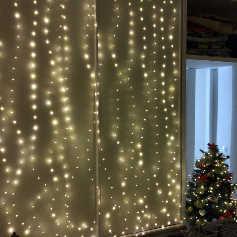 livre luzes de fadas natal branco quente estrelado luz + adaptador