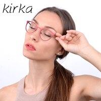 Kirkaใหม่ผู้หญิงแมวตารอบโลหะปรากฏการณ์เลนส์กรอบแว่นตาผู้หญิงแฟชั่นแว่นตาสายตาสั้นแว่นสายต...