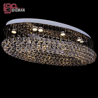 New Oval Design Large Modern Crystal Chandelier Lamp Ceiling Fixtures Hotel Project Lighting Free Shipping