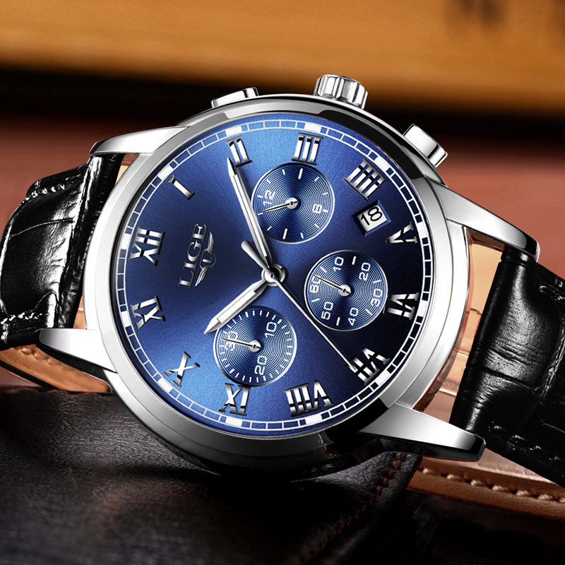 Mens watches top brand LIGE luxury Chronograph Men Sports Quartz Watch Waterproof Leather Men's Wrist watch Relogio Masculino Lahore