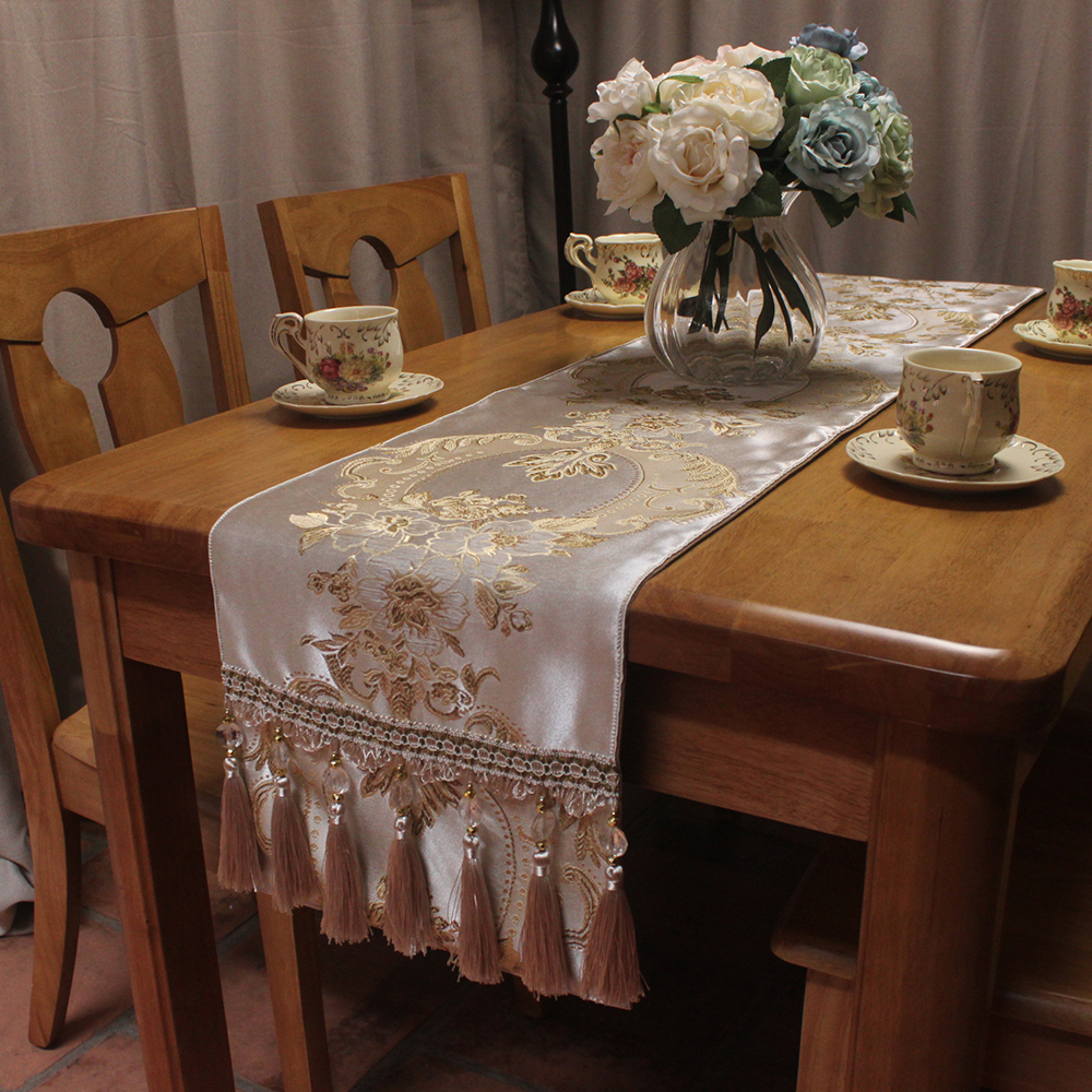 Formal Dining Table: CURCYA Silver Beige Flower Jacquard Luxury Table Runner