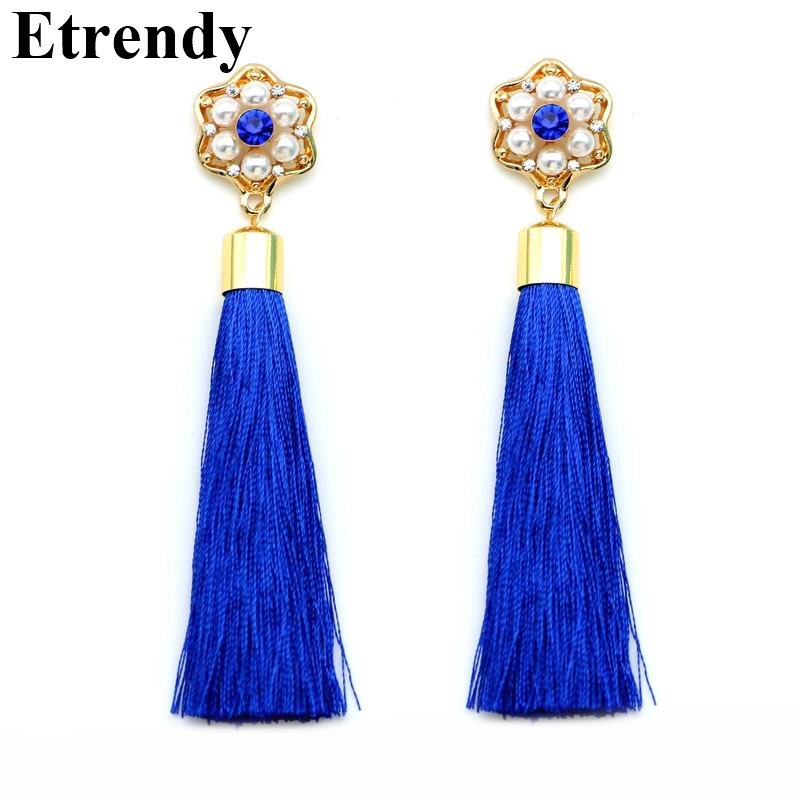 6 Colors Tassel Earrings For Women Red Black Green Long Earrings Bijoux New Fashion Jewelry Wholesale Cute Gift in Drop Earrings from Jewelry Accessories