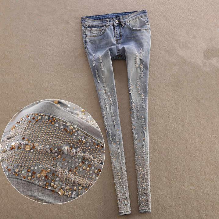7d8abeab0c2 Обтягивающие джинсы женские алмаз вышитые отверстия карандаш Брюки для  девочек синие джинсовые Мотобрюки Женская Джинсы для
