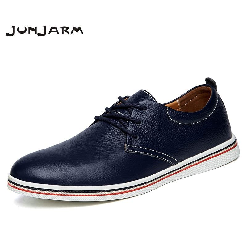JUNJARM 2018 Britischen Stil Männer Wohnungen Schuhe Handarbeit Aus Echtem Leder Männer Business Schuhe Atmungsaktive Lace-up Männer Wohnungen Schuhe 38-47
