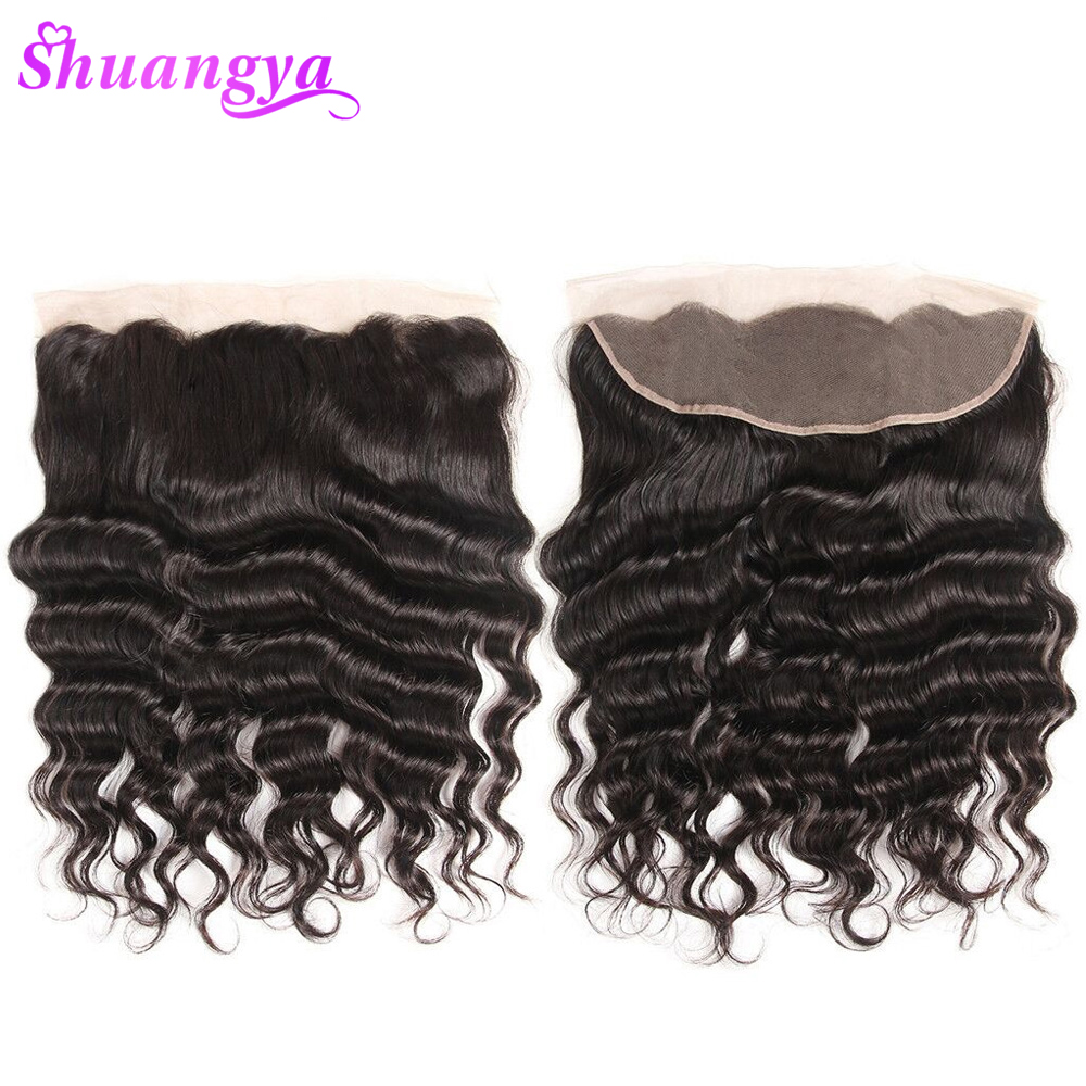 Shuangya Hair 13x4 Lace Frontal Free Middle Part Brazilian Loose Deep Wave Frontal 130 Density Remy