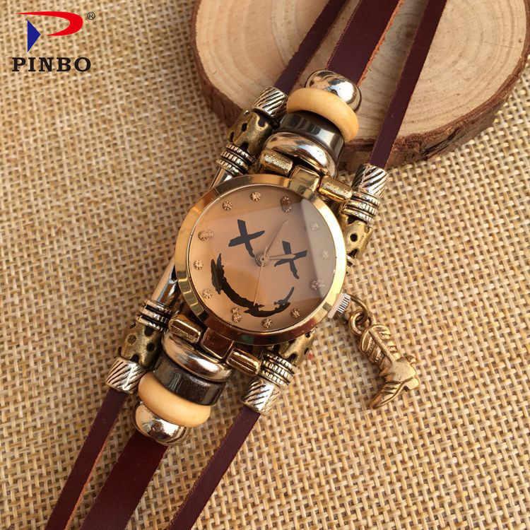Оригинальный дизайн модные часы браслет высокое качество кожа кварцевые P18