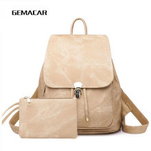 New Ladies Backpack Fashion Imitation Leather Kit Simple Lock Design Bag Youth Student Waterproof