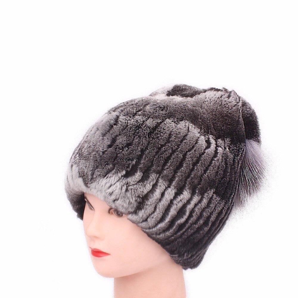 Rex fourrure de lapin hiver cagoule chapeaux femme pour filles femmes Vintage décontracté solide tricoté casquettes Skullies bonnets