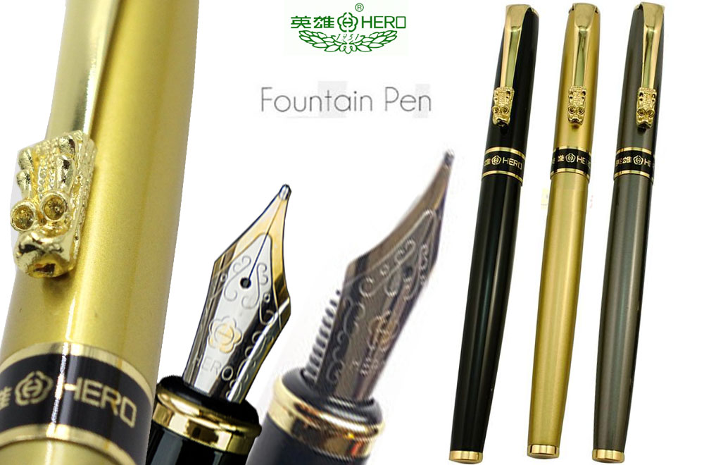 Fountain pen  M  Nib HERO 1508 Dragon Clip Signature pens The best gifts  Free  Shipping fountain pen curved nib or straight nib to choose hero 6055 office and school calligraphy art pens free shipping