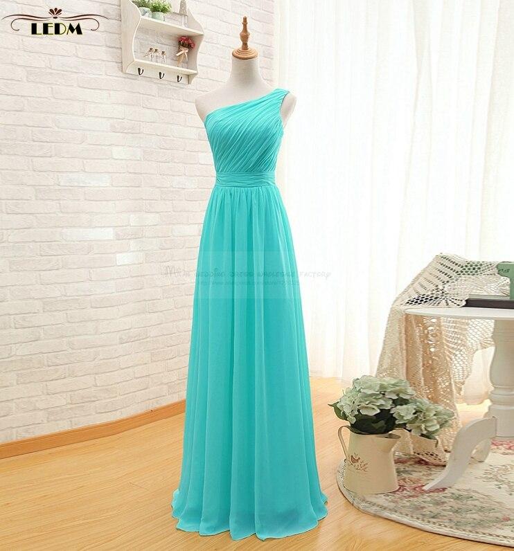 robe demoiselle d'honneur 2018 new chiffon one shoulder A Line turquoise   bridesmaid     dresses   long plus size vestido madrinha