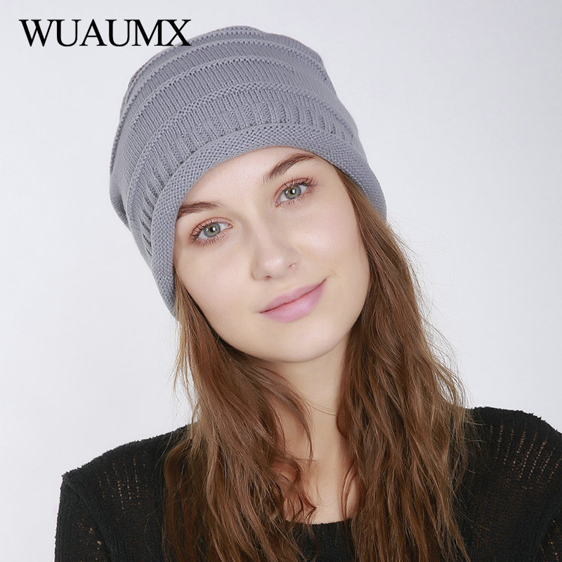 Wuaumx Unisex Autumn Winter   Beanies   Hats For Women Men Thin Causal Knitted   Skullies     Beanie   Solid Baggy Caps Bonnet czapka zimowa