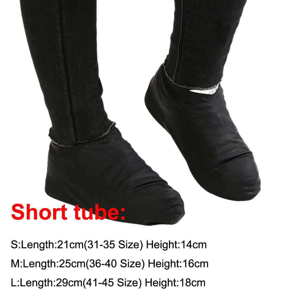 1 çift Kauçuk Yeniden Kullanılabilir Lateks Su Geçirmez yağmur ayakkabıları Kapakları kaymaz yağmur botu motosiklet bisiklet Galoş Ayakkabı Aksesuarları