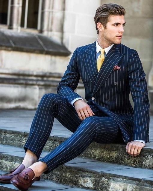 2019 Men Wedding Suits Navy Blue Suit Men Stripe Slim Fit Tuxedo Blazer Formal Business 3 Piece Mens Suits With Pants