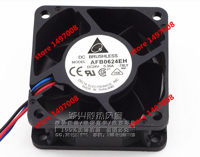 Free Shipping For DELTA  AFB0624EH, -TBLY  DC 24V 0.36A, 3-wire 60mm 60x60x25mm Server Square cooling fan