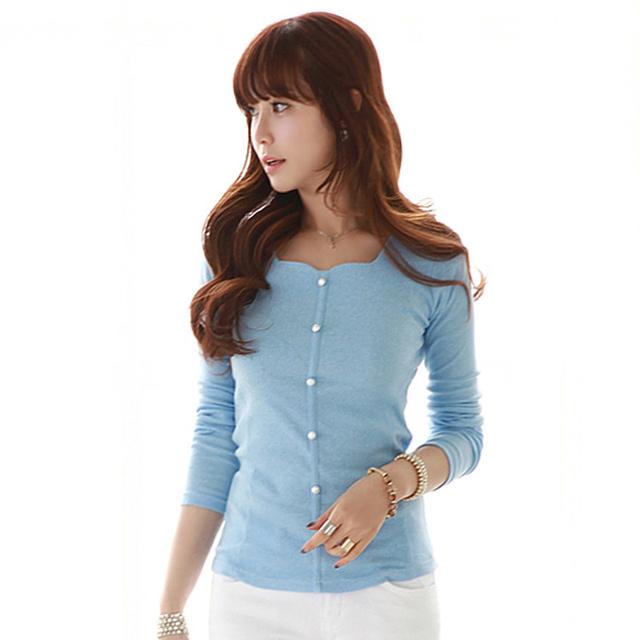 Camiseta Mulheres 2017 Tops Manga Longa T-shirt T-Shirt Botão Colarinho quadrado Roupas Coreano Plus Size Vetement Femme Mulher Tshirt Top