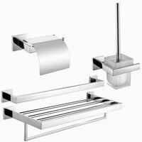 Free Shipping 304 Stainless Steel Towel Rack Towel Bar Paper Holder Oilet Brush Holder Bath Hardware