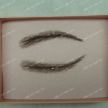 0112 handmade human hair man false eyebrows black color #1B hand knot fake eyebrow