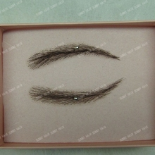 0112 handmade human hair man false eyebrows black color #1B hand knot fake eyebrow