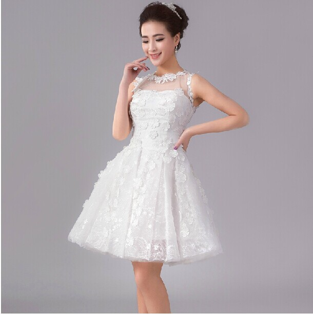 white prom a line dress for teens hand made lace flower