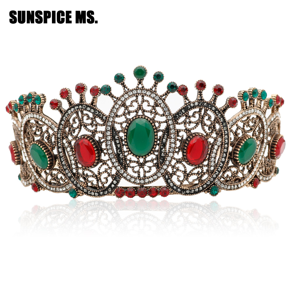 Gorgeous Bohemia Women Resin Round Antique Tiaras Crown Indian Turkish Vintage Jewelry Ethnic Wedding Hairbands Women Hair Gifts