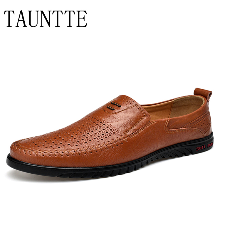 Genuine Leather Loafers For Men Slip On Breathable Driving Shoes Hollow Out Flat With Casual Moccasins discount 2017 men velvet loafers genuine leather slip on rivets flat casual shoes driving mocassin wedding party shoes plus size