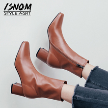 ISNOM High Heels Boots Women Cow Leather Ankle Boot Square Toe Shoes
