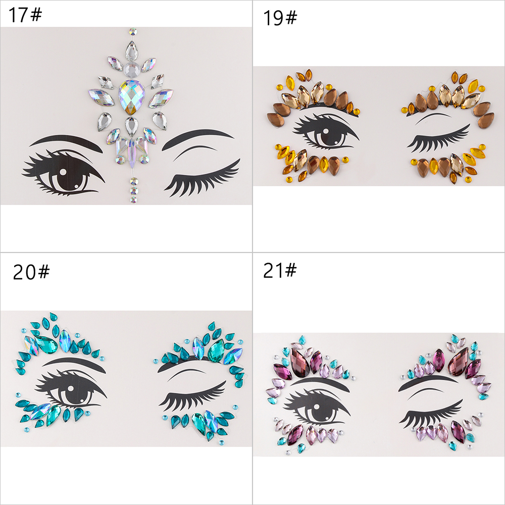 Adhesive Face Gems Rhinestone Temporary Tattoo Jewels Festival Party Body  Glitter Stickers Flash Temporary Tattoos Sticker 7eb37db1d330