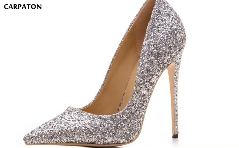 Carpaton 2018 Newest women High heels Fashion Sequined Cloths Design Pointed Toe Party model Sexy Women Singer shoes