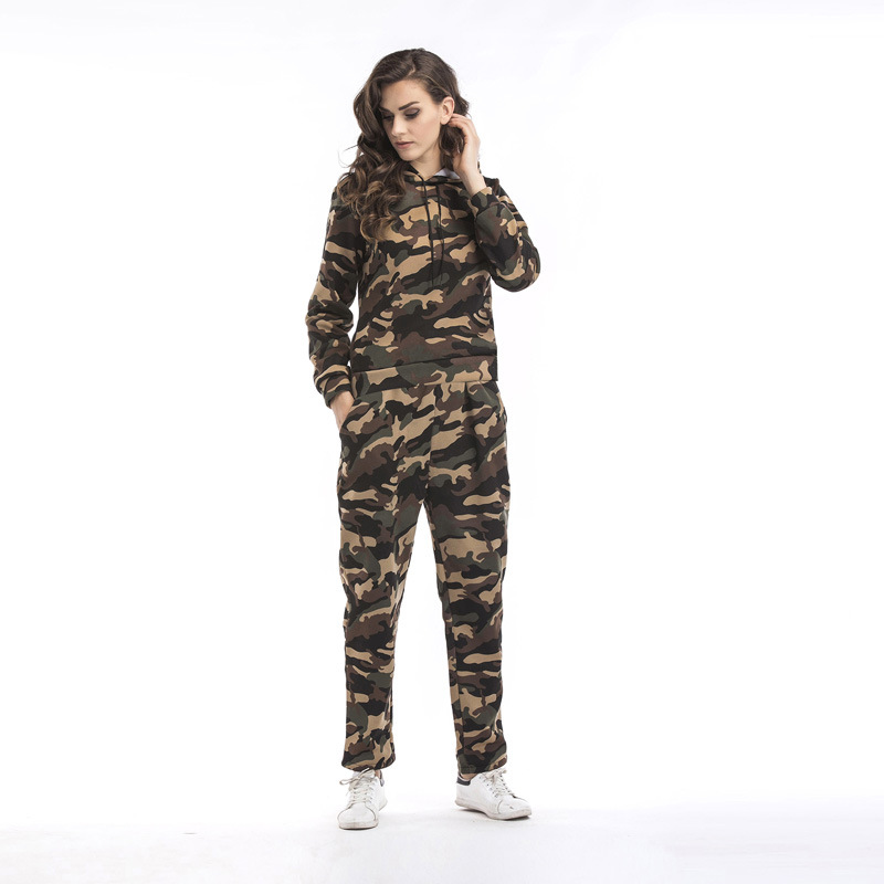 Two Piece Set Top and Long Pants Tracksuit Women Matching Sets Camouflage Sweat Suits Hoodies Autumn Outfits Sets Of Clothes
