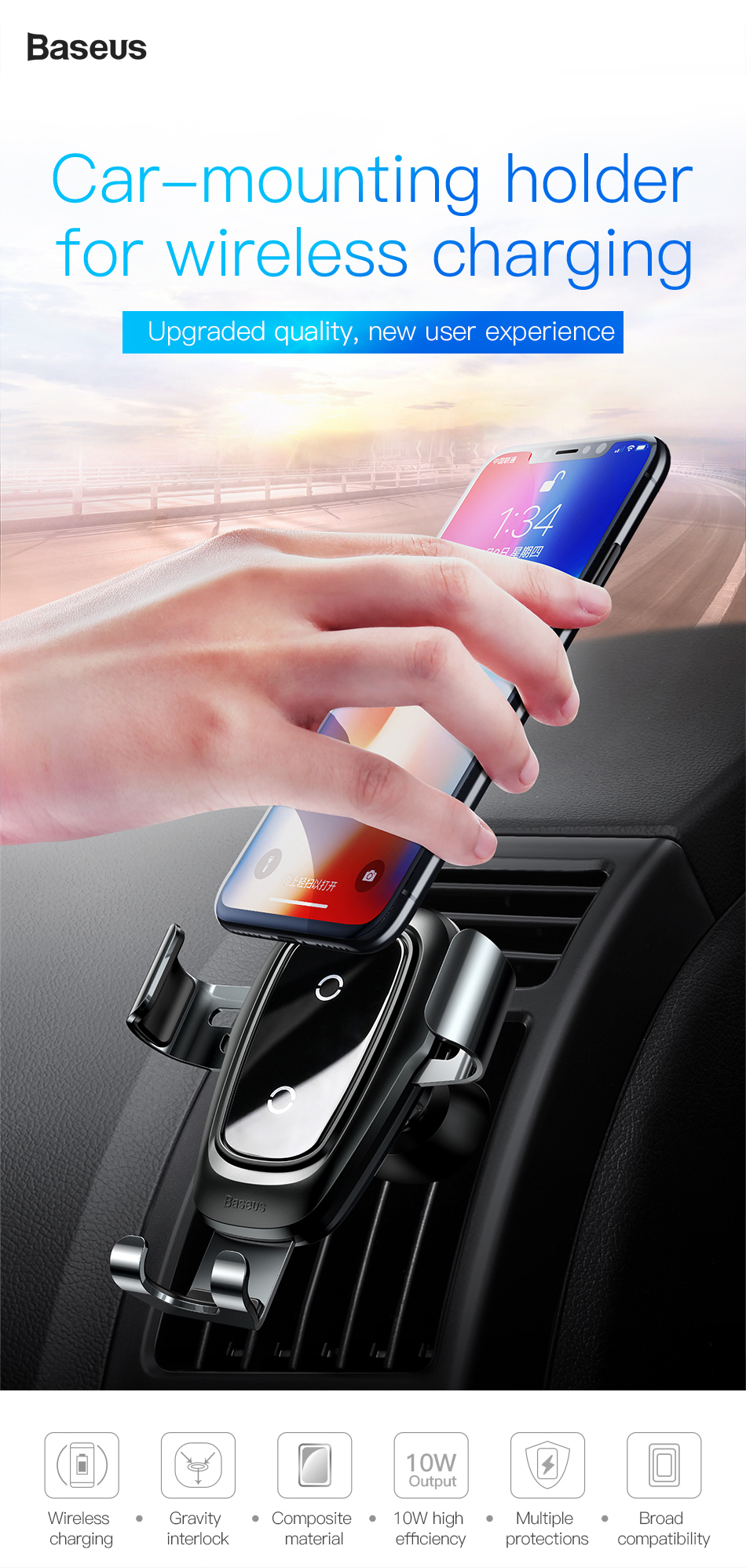 Baseus Qi Wireless Car Charger For iPhone Xs Max X 10w Fast Car Wireless Charging Holder For Xiaomi Mi 9 Mix 3 2s Samsung S10 S9 1