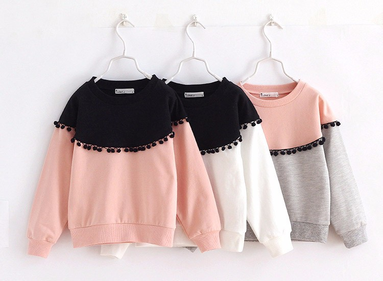 HTB1Nii5IpXXXXXaXpXXq6xXFXXX1 - Children Girls shirt tops 2017 Spring Fashion Color patched 100% cotton knitted Snow Ball long-sleeved loose shirts for girls