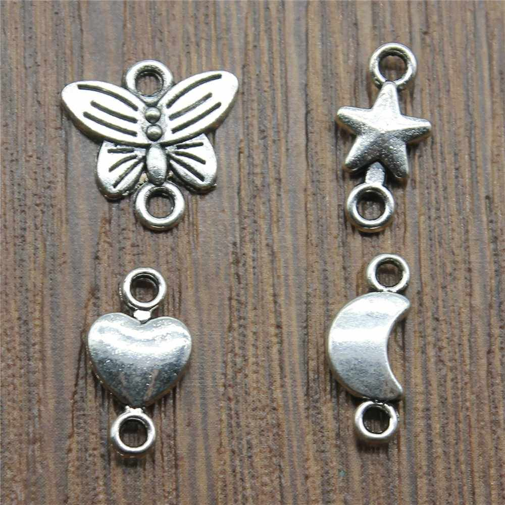 Connector Charm Antique Silver Color Butterfly Star Moon Heart Connector Charm Jewelry Accessories