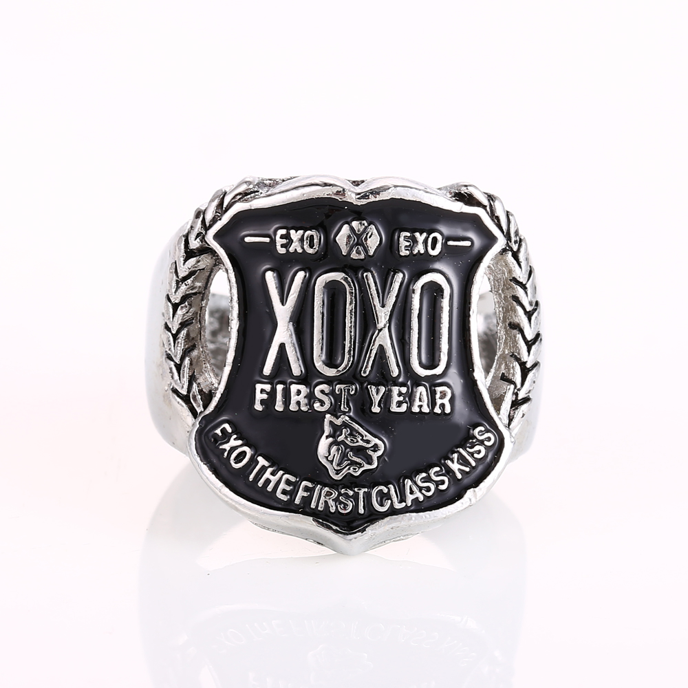 Mengtuyi Fashion Jewelry Finger Rings Cosplay Exo XOXO Logo Letter Pattern Antique Silver Color Ornament