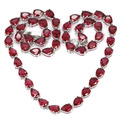 Drop Pink Raspberry Rhodolite Garnet Created SheCrown Ladies   Silver Necklace 18 inch 11x6mm