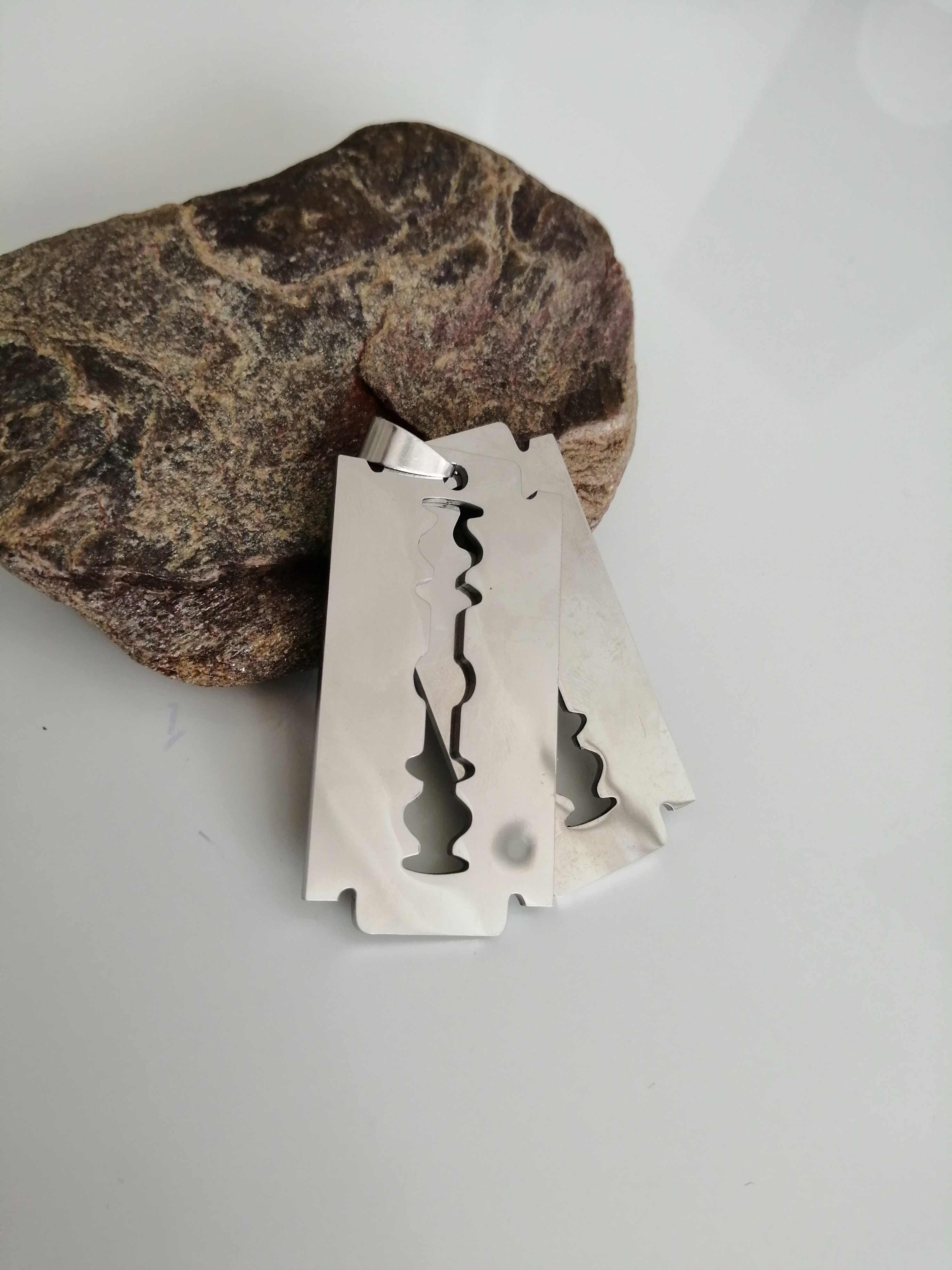 New arrival męska stal nierdzewna brzytwa wisiorek srebrny kolor łańcuszek z łańcuszkiem