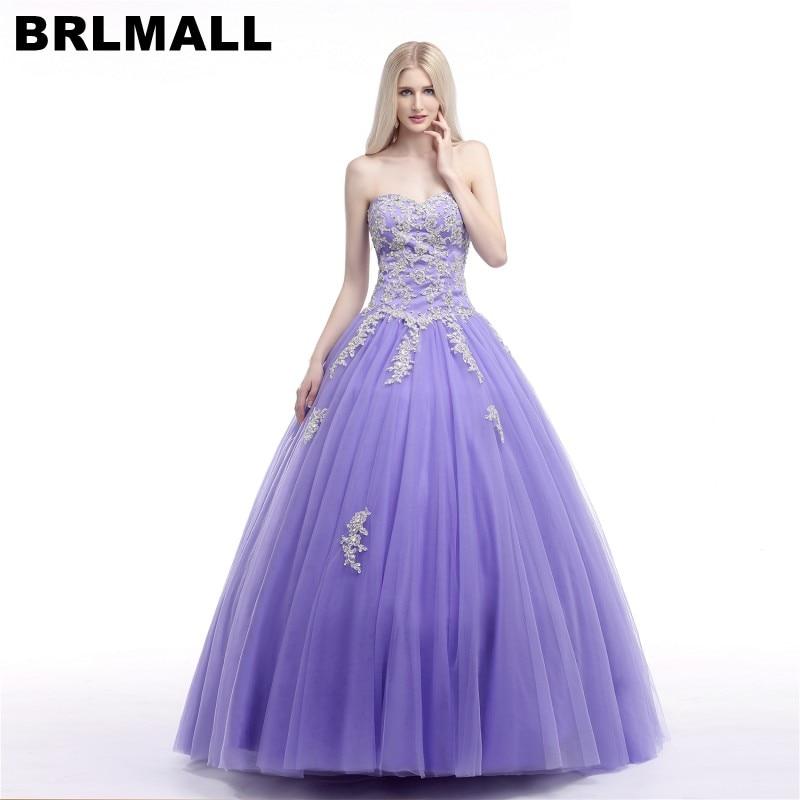 BRLMALL élégante robe de bal violette Quinceanera robes dentelle Appliques robe de bal chérie robe à lacets 15 anos robe de debutante