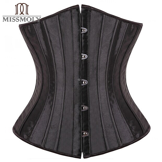 Miss Moly Sexy Gothic Lingerie Bustiers Black Steel Boned Satin Embroidered Shaper Underbust Corset Plus Size Corpete Espartilho