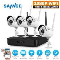 SANNCE Full HD 1080P 4CH Wireless NVR CCTV System IP Camera 2MP WI FI Waterproof IR