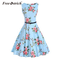 Free Ostrich 2017 Women Summer Dresses O Neck Sleeveless Vintage Party Dress Floral Print Vestido De