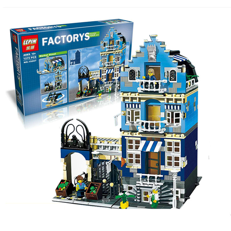 ФОТО IN STOCK DHL Lepin 15007 Factory City Street European Market Model Building Block Set Bricks Kits DIY Compatible 10190