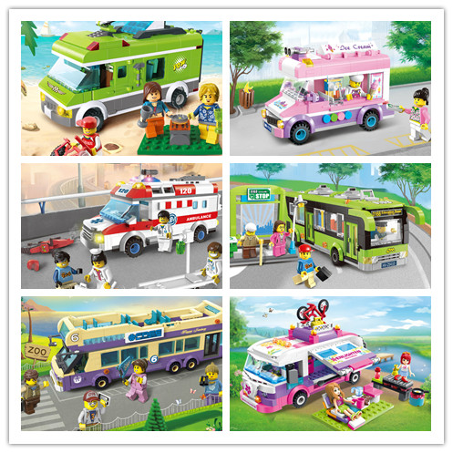 Enlighten City Bus Sanitation Car Truck Vehicle Model Building kit Block City Delivery Brick Kids Gift set compatiable with lego rizabina women square heels over knee high heel boots women snow fashion winter warm footwear shoes boot p15645 eur size 30 49