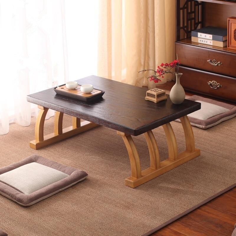 Table basse en Tatami paresseux japonais en bois massif pour salon Snack Table d'appoint d'angle pour ordinateur portable dans la maison/bureau Mini balcon de bureau