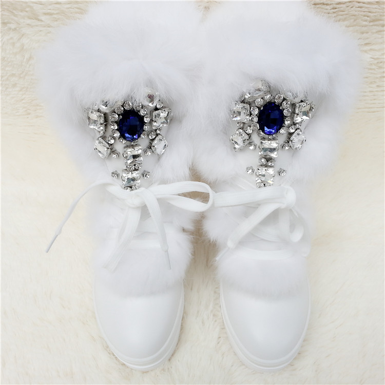 Sweet Real Rabbit Fur Winter Boots Rhinestones Diamond Snow Boots Thick Warm High-Top Women Shoes Large Size 41 Winter Warm Shoe