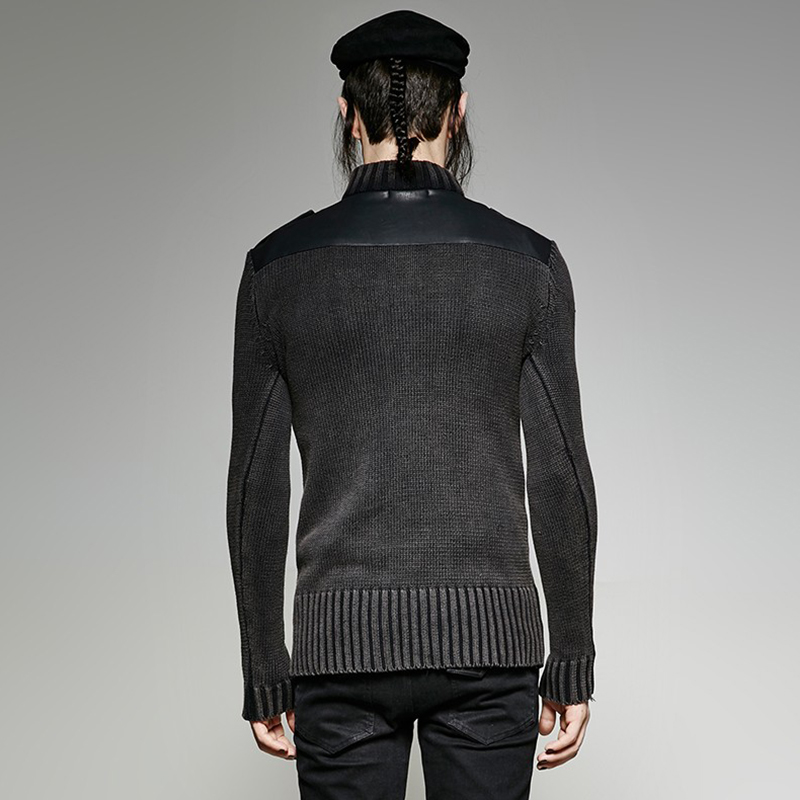 PUNK RAVE Heavy Punk estilo Otoño Invierno tachonado suéter de cuero negro hombres Steampunk buen ajuste militar Retro - 2