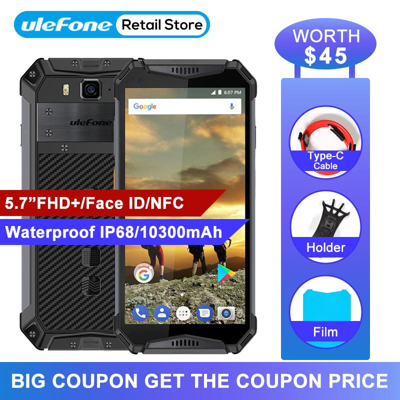 """Ulefone Armor 3 Waterproof IP68 Mobile Phone 5.7""""FHD+ Android 8.1 4GB+64GB 21MP NFC Face ID 10300mAh Global Version Smartphone"""