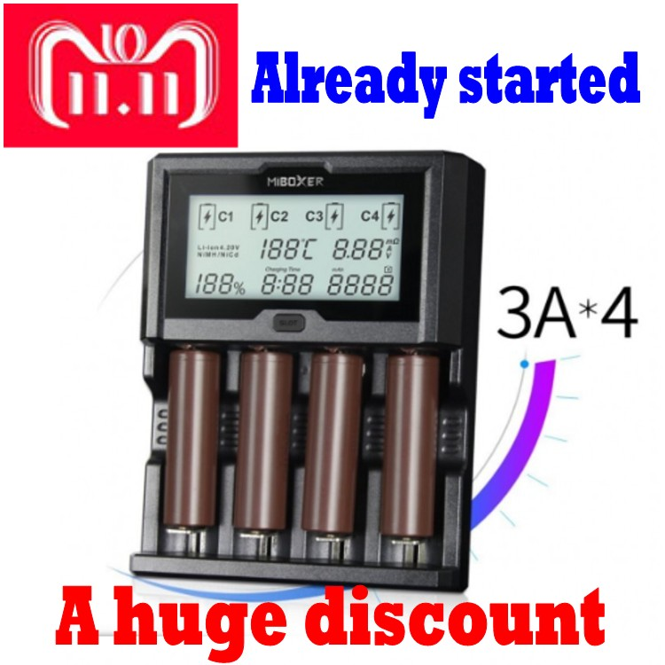 Miboxer 4Slots 3A/slot LCD Screen Battery Charger for Li-ion/Ni-MH/Ni-Cd/LiFePO4 18650 14500 26650 AAA AA rechargeable batteries 2 slots intelligent lcd screen battery charger miboxer c2 4000 for li ion ni mh ni cd lifepo4 18650 26650 rechargeable batteries