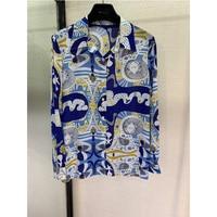 High end products, stylish silk, printed shirts, women's long sleeved shirts, temperament, fashion, leisure, 100 % silk.